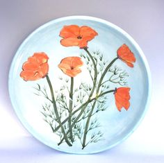 Bowl with California Poppy Design by SusanTroyDesign on Etsy