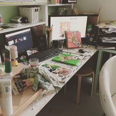 This is how my messy workplace looks like. I have been painting a lot the last few weeks and that shows :-) I do love my little mess. #artist #workplace #work #art #painting #picoftheday #photooftheday #mess #creative #craft #craftroom #creativepeople