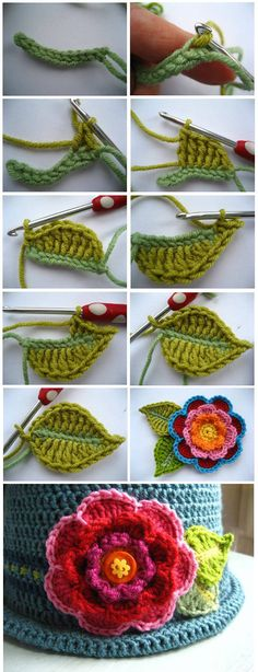 Crochet Turkey - How to make a Lima summer blouse in horq .- Crochet Turkey – Como hacer una blusa de verano Lima en horquillas Cap a with braids of leaves and flower in Tunisian - Crochet Leaves, Crochet Motifs, Knitted Flowers, Knit Or Crochet, Irish Crochet, Crochet Crafts, Crochet Projects, Crochet Brooch, Simply Crochet
