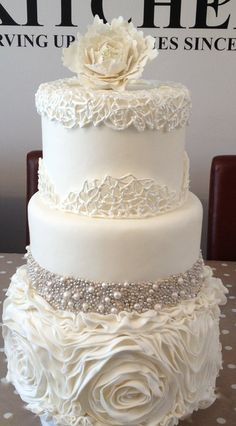 Fondant ruffles, hand rolled sugar pearls, Royal icing cage and gumpaste peony. Wedding cake design by Cookie Couture UK Beautiful Wedding Cakes, Gorgeous Cakes, Pretty Cakes, Amazing Cakes, Perfect Wedding, Dream Wedding, Wedding Day, Elegant Wedding, Lace Wedding