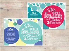 Lets make a Splash Pool Beach birthday , Digital DIY Printable Invitation invite , Girls Boys birthday, on Etsy, $15.10