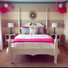 Great idea for a girl's room. Grey with a bright color always looks good…