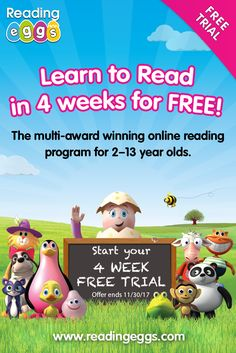 Sign up for a FREE 4 week trial today to discover the world of Reading Eggs!