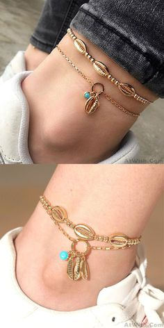 Cheap Fashion Bohemian Handmade Beaded Metal Shell Personality Foot Double Decker Anklet For Big Sale! Anklet Designs, Bracelet Designs, Girls Accessories, Fashion Accessories, Foot Bracelet, Fashion Bracelets, Women's Bracelets, Beaded Anklets, Personality