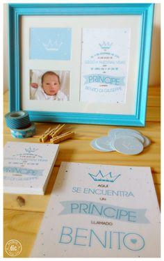 Souvenir de nacimiento, láminas tipográficas + foto.
