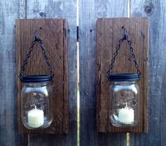 Barn wood mason jar candle holders by Thesalvagednail on Etsy, $36.00