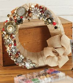 Burlap Jewel Wreath