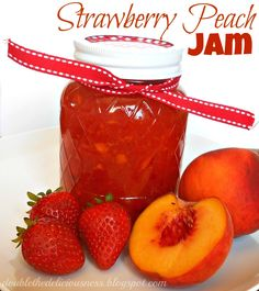 Strawberry Peach Jam…delicious on pancakes!:) Strawberry Peach Jam…delicious on pancakes! Fresh Peach Recipes, Salsa Dulce, Homemade Jelly, Canned Food Storage, Peach Jam, Jam And Jelly, Jelly Recipes, Canning Recipes, Snacks