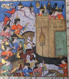 Shah Rukh hunting and before fortress of Sultan Sulayman King  of Delhi   IO Islamic 888 Qasimi's Shah Rukh Namah, late 16th century