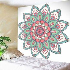Buy Mandala Wall Hanging Floral Print Tapestry, sale ends soon. Be inspired: enjoy affordable quality shopping at Gearbest! Mandala Art, Mandala Drawing, Mandala Painting, Mandala On Wall, Art Mural, Wall Murals, Wall Art, Motif Floral, Floral Prints