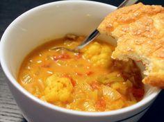 Stærk karry-suppe (blomkål og porrer) - LCHF