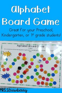 Alphabet Board Game - Help your primary students master their letters with this fun, hands on game. Your preschool, Kindergarten, and 1st grade classroom or home school students will practice recognizing the letters of the alphabet and the sounds they make. This is great for alphabet review, centers, stations, early or fast finisher games, homework, family night, and more. Print, laminate, and go! {preK, K, first graders, homeschool, homeschooling, tot school} #alphabet #letters