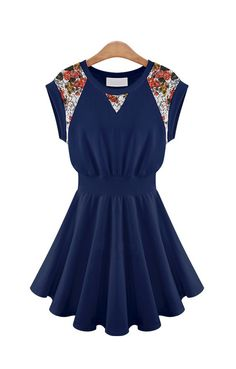 Navy with Floral accents…cute dress
