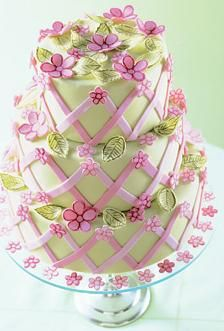 beautiful pink and green floral spring cake