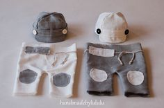 2 Sets for twins, twin sets hats and baby pants, simply from organic linen in white and gray, newborn Photo prop, boy props