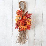 Fall Leaves Pumpkins and Berries Swag - 35452