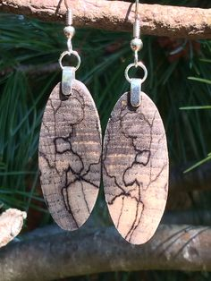 Small Resin Infused Spalted Hackberry Light weight Wood Earrings by forestlifecreations on Etsy