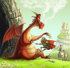 Dragon and Knight Picture  (2d, cartoon, knight, castle, character, dragon, fun…