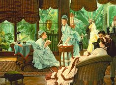 "Tissot:Tea ""In the Conservatory"" (or The Rivals) by James Tissot My all-time favourite!"