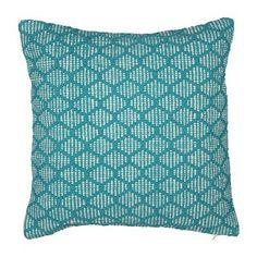 Kussen turquoise/wit - 45x45 cm
