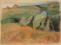 Edgars Degas, Landscape with Rocks, 1892, pastel over monotype