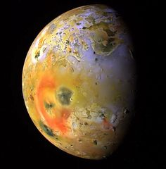 With over 400 active volcanoes, Jupiter's moon Io is the most geologically active object in the Solar System.   Credit: #NASA's Galileo (spacecraft)