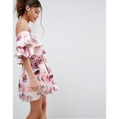 ASOS Double Ruffle Bardot Mini Skater Dress (785 ZAR) ❤ liked on Polyvore  featuring f9518cdd3