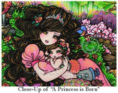 Mom & Baby Princess 8x10 FairyTale Art Print by hannahlynnart
