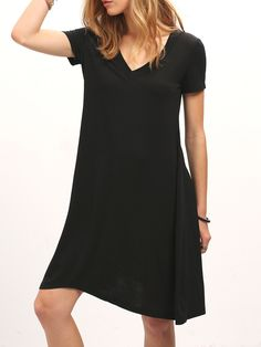 14$  Buy now - http://dibft.justgood.pw/go.php?t=1102 - Black V Neck Short Sleeve Loose Dress 14$
