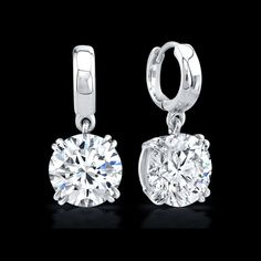 Round Brilliant Diamond Drop Earrings