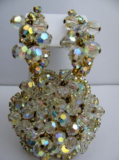 Vintage Confirmed Juliana D & E  Rhinestone AB Cha Cha Brooch and Earring Set