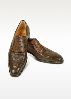 Amedeo Testoni - Handsewn Two-tone Brown Ostrich Leather Shoes