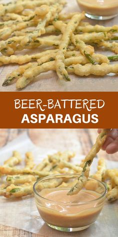 Beer-Battered Asparagus are a fun way to eat your vegetables. Golden and crisp and served with a campfire dipping sauce, they're seriously addicting!