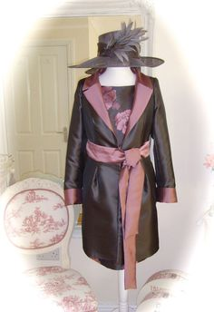 NWT Sonia Penna Dress/Coat, 12, Grey/Pink & Snoxell Hat, Weddings Races Formal