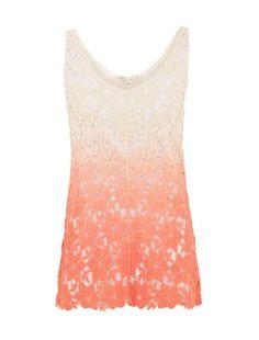 Cameo Rose Pink Ombre Crochet Vest