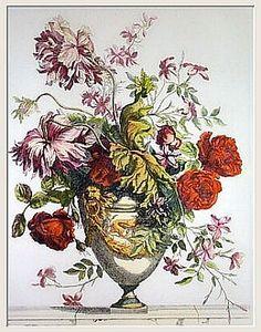 Blumenbukett in     Amphore mit antikem Hintergrund    Papageientulpen, Rosen