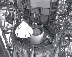 being installed atop in 1965 Nasa Space Program, Apollo Program, Space Race, Space Exploration, Earth, Explore, Rockets, Travel, History