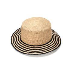 d26db6f23a8d9 Fashionable chic raffia straw hat with black stripes texture