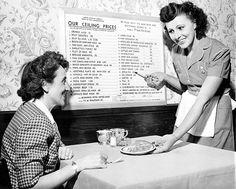 Waitress, 1944.  Mom's job until she opened her own luncheonette