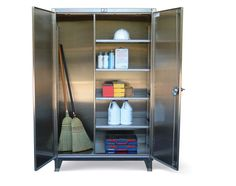 Stainless Steel Broom Closet Cabinet - Stainless steel broom closet cabinet with closet shelves. locking device can be locked with a standard padlock. Stainless Steel Cabinets, Storage Solutions, Storage Ideas, Industrial Storage, Closet Shelves, Panel Doors, Bathroom Medicine Cabinet, Cleaning Supplies, Locker Storage