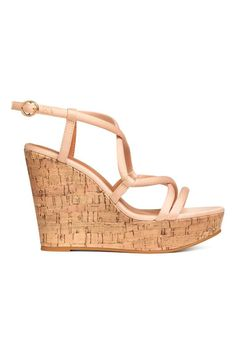 Sandals with wrapover straps at the front and an adjustable fastening at the heel. Imitation leather insoles, and imitation cork wedge heels with rubber sol Wedge Heels, High Heels, H&m Sale, Online Shopping Shoes, Shoe Shop, Shoes Sandals, Beige Sandals, Heeled Sandals, Wedges