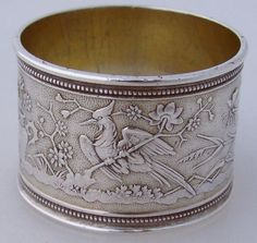 Aesthetic Bird Insect Floral Napkin Ring American Coin Silver 1870