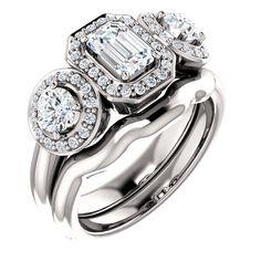 0.75 Ct Emerald Three-stone Diamond Engagement Ring 14k White Gold – Goldia.com