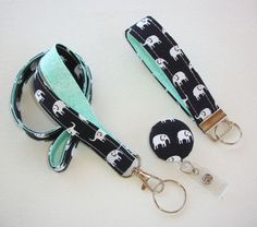 Lanyard ID Badge Holder - retractable Reel - Key FOB / KeyChain / Wristlet Set - White elephants on black with mint - coworker gift under 25