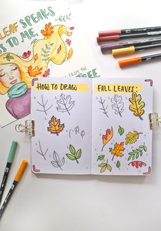 How to Draw Fall Leaves with & dibujos a lapiz faciles Draw Fall Leaves and make a cute Autumn Illustration Bullet Journal Mood, Bullet Journal Ideas Pages, Bullet Journal Inspiration, Fall Drawings, Doodle Drawings, Leaves Doodle, Draw Leaves, Autumn Illustration, Art Journals