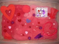 valentines day sensory tubs! to cute! check out this site for more awesum sensory tubs!