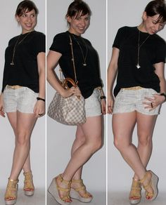 Look do dia: como usar short curto com camiseta masculina, anabela Santa Lolla e bolsa Speedy Louis Vuitton. Estampa de cobra no blog de moda.