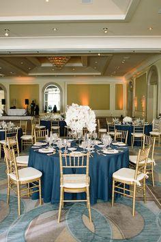 navy blue, white, gold wedding, white orchids, white flowers, white wedding // Events by Satra // Delbarr Moradi Photography // Poppy's Petalworks