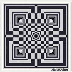Cross Stitch Pattern Abstract geometric with optical effect (minimalism) pillow Counted Cross Stitch Pattern/Instant Download Epattern