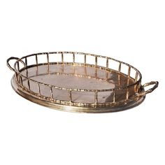 Hollywood Regency Brass Oval Faux Bamboo Serving Tray on Chairish Vanity Tray, Faux Bamboo, Hollywood Regency, Perfume, Bronze, Brass, Metal, Flutes, How To Make